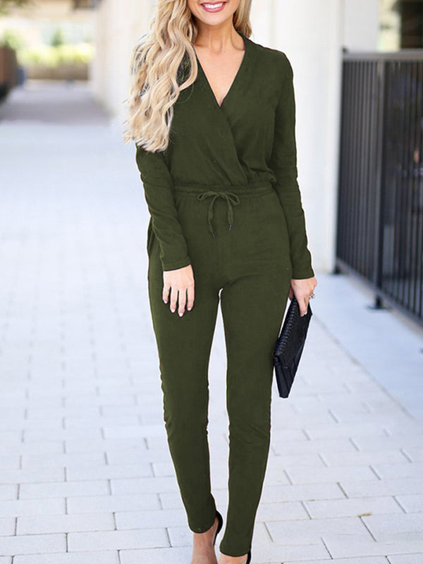 Women Solid Lace Up Sexy Long Sleeve Jumpsuits