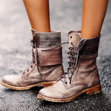 Women Daily Ankle Lace-Up Flat Heel PU Boots
