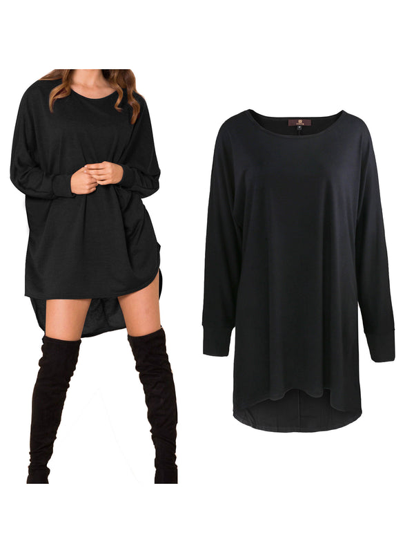 High Low Hem Batwing Sleeves Tunic Dress