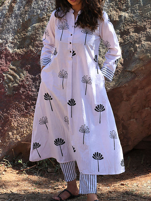 Plus Size Shirt Collar Women Caftans Shift Daily Linen Dresses