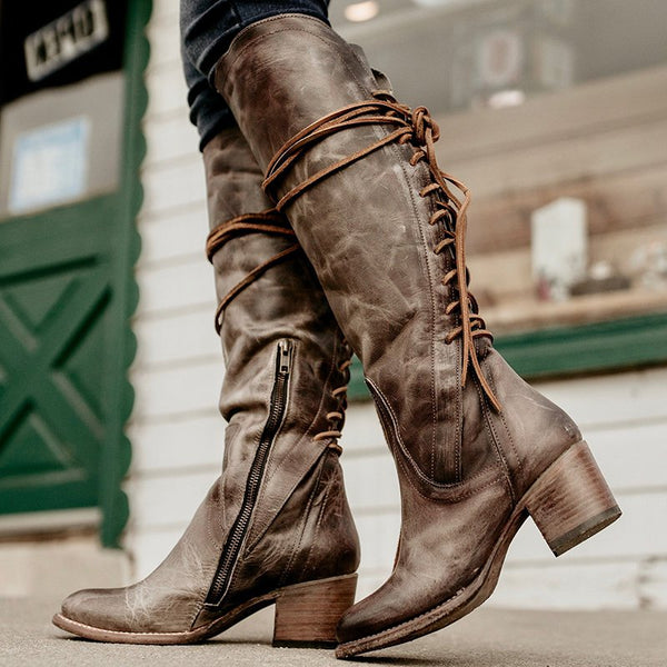 Womens Artificial Leather Chunky Heel Lace-up Vintage Knee Boots