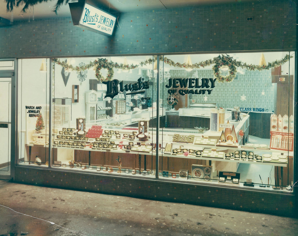 The old Village Square location for Blust's Jewelers St. Louis