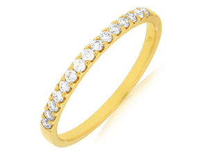 14K Yellow Gold .25 Ctw Diamond Wedding Band