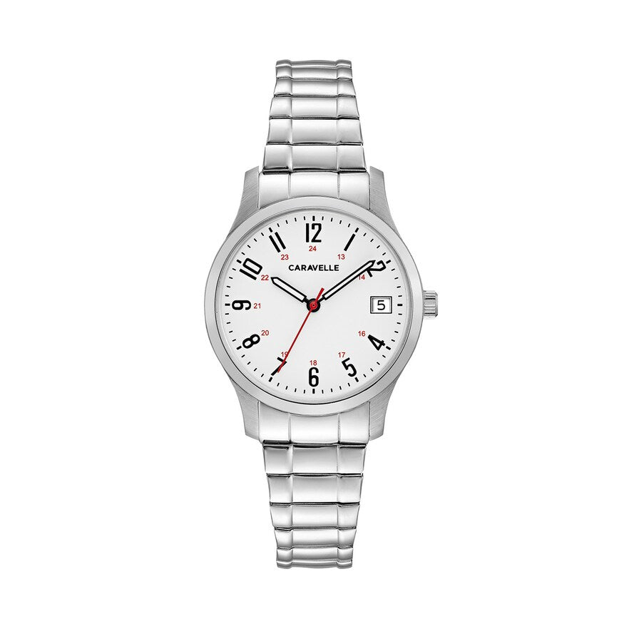 Caravelle by Bulova Womens Silver Stainless Steel White Black Quartz Dial Watch