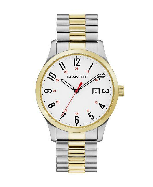 Caravelle by Bulova Men's Easy Reader Two Tone Stainless Steel Expansion Watch