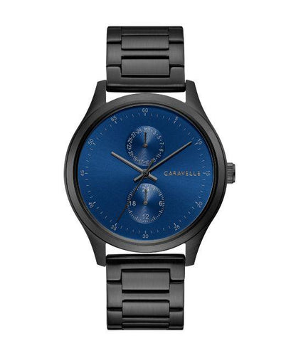 Caravelle by Bulova Men's Black IP Watch with Blue Dial
