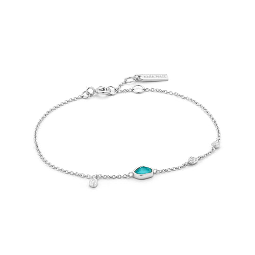 "Turquoise Discs 6.5-7.25"" Bracelet Sterling Silver with Rhodium Plating"