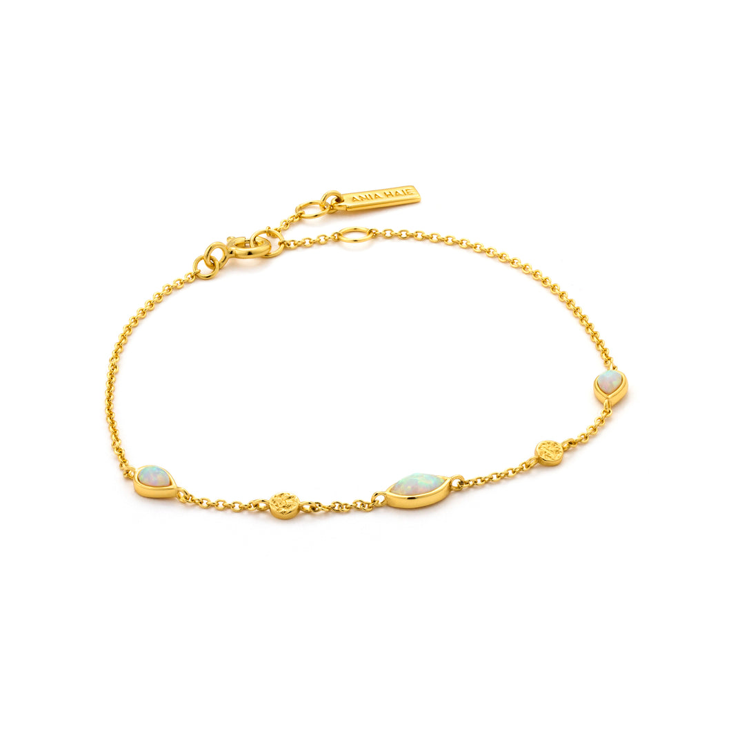 "Opal Color 6.5-7.25"" Bracelet Sterling Silver with 14K Gold Plating"