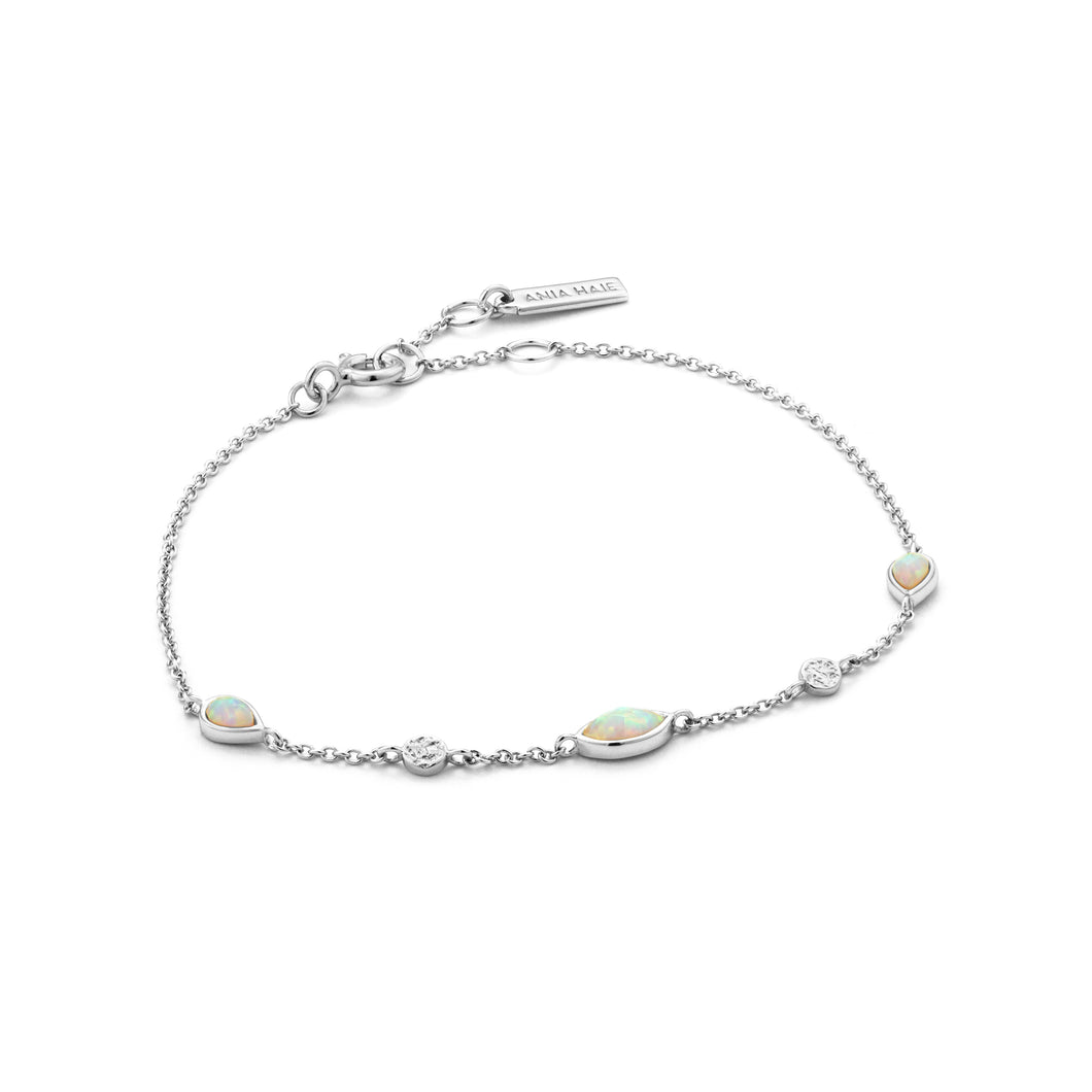 "Opal Color 6.5-7.25"" Bracelet Sterling Silver with Rhodium Plating"