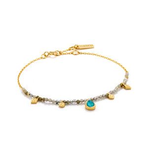 "Turquoise Labradorite 6.5-7.25"" Bracelet Sterling Silver with 14K Gold Plating"