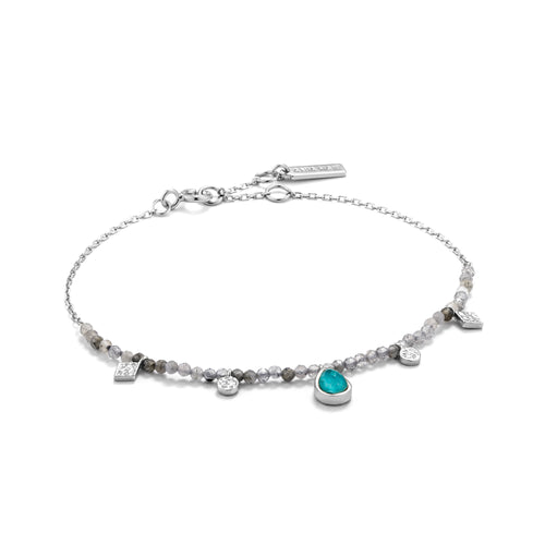 "Turquoise Labradorite 6.5-7.25"" Bracelet Sterling Silver with Rhodium Plating"