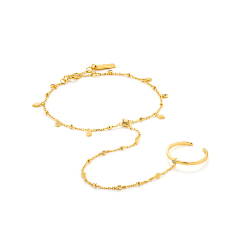 Bohemia Hand Chain Bracelet Silver with 14K Gold Plating