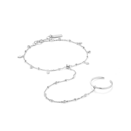 Bohemia Hand Chain Bracelet Silver with Rhodium Plating