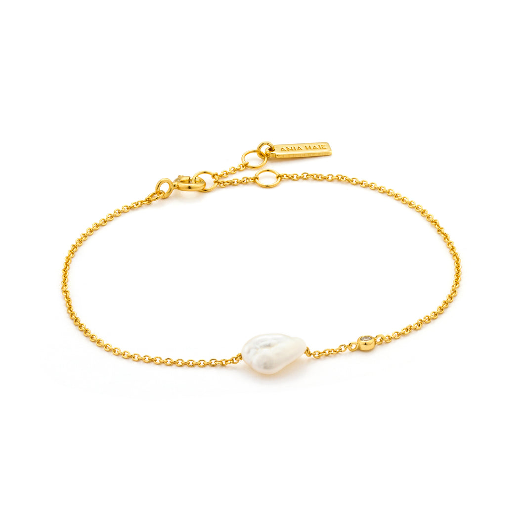 Gold Plated Sterling Silver Pearl Bracelet