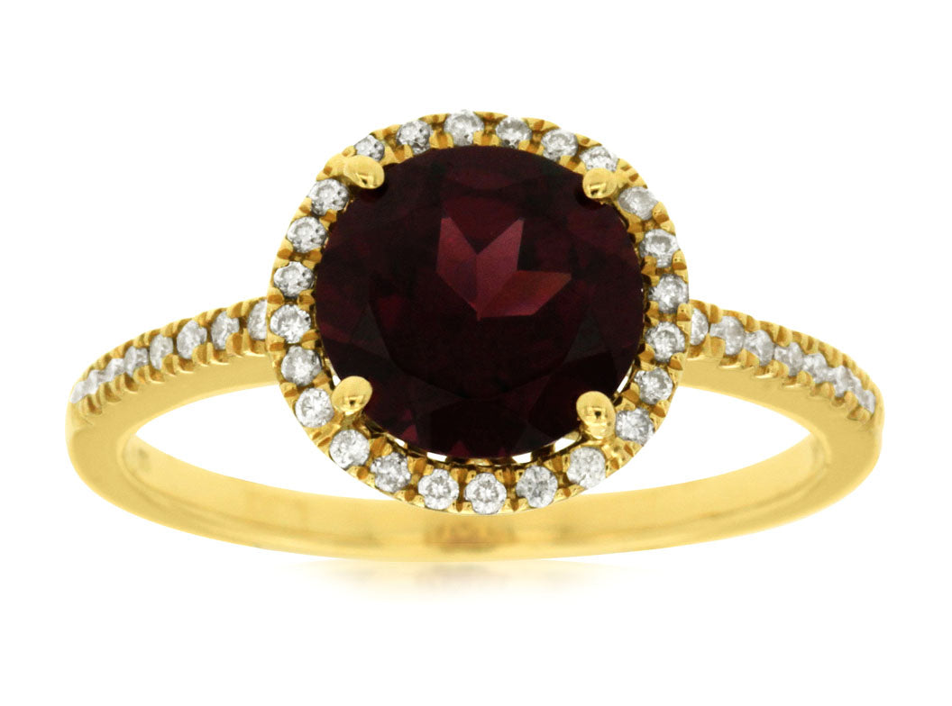 14K Yellow Gold 2.10 Ct. Rhodolite and .16 Ctw Diamond Halo Style Ring