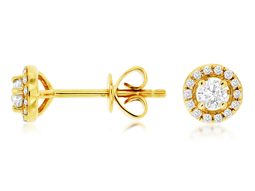 14K Yellow Gold .25 Ctw Halo Diamond Stud Earrings with Friction Post