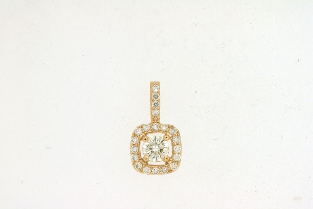 14K Yellow Gold .35 Ctw Square Halo Style Diamond Pendant