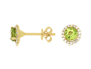 14KY .85 Ctw Peridot and .14 Ctw Diamond Halo Earrings