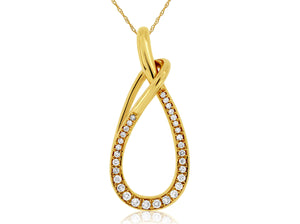 14K Yellow Gold .22 Ctw Diamond Tear Drop Shaped Pendant with Chain