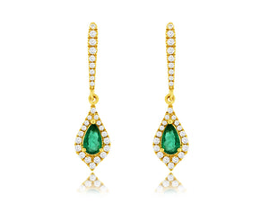 14K Yellow Gold .40 Ctw Pear Shape Emerald and  Round Diamond Earrings with Friction Post