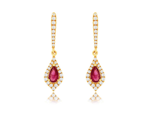 14K Yellow Gold .40 Ctw Pear Shape Ruby and  Round Diamond Earrings with Friction Post