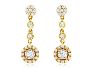 14K Yellow Gold .40 Ctw Dangle Diamond Earrings with Friction Post