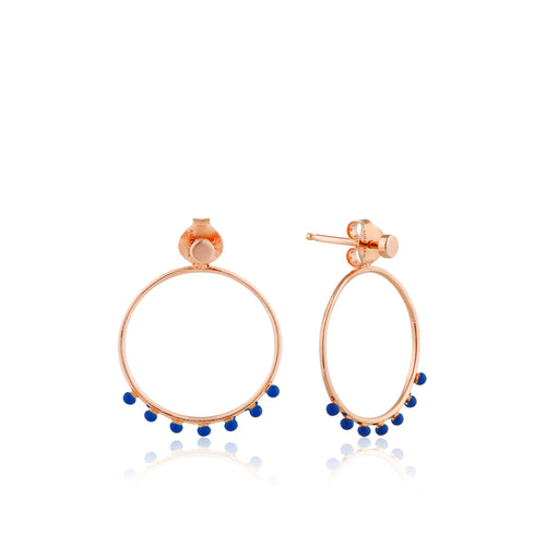 Connect The Dots Dotted Front Stud Hoop Earrings