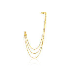 Draping Swing Ear Cuff Sterling Silver with 14K Gold Plating