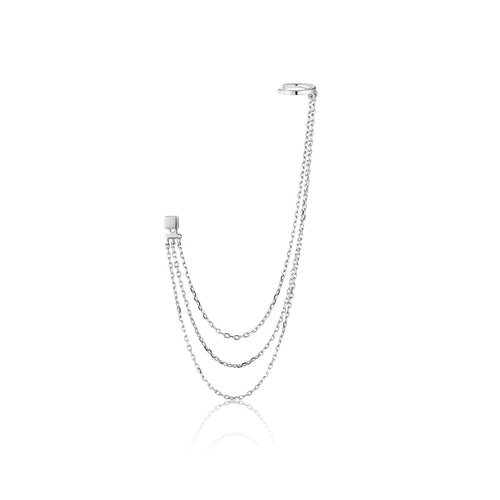 Draping Swing Ear Cuff Sterling Silver with Rhodium Plating