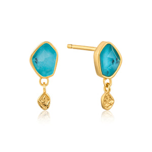 Turquoise Drop Stud Sterling Silver Earrings with 14K Gold Plated