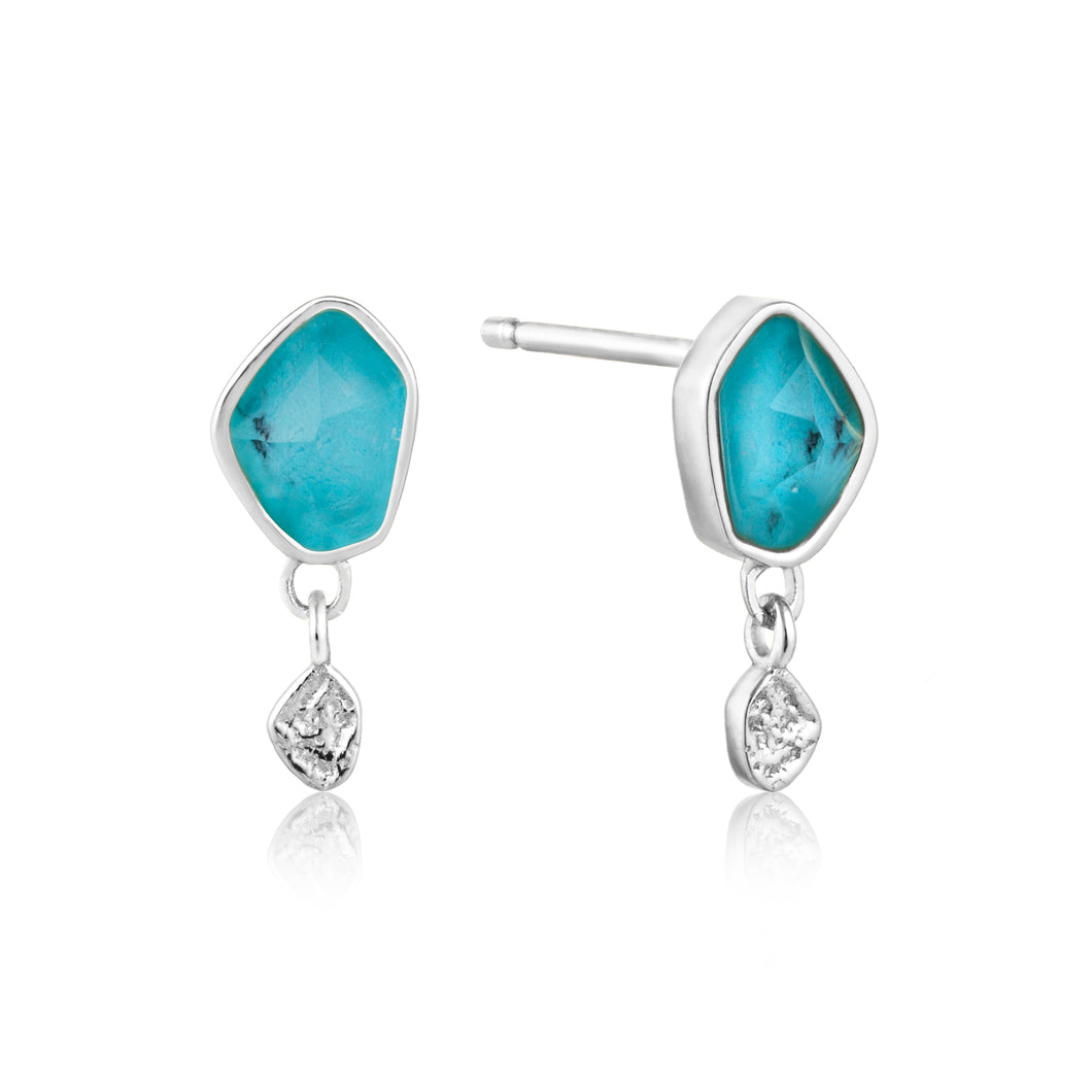 Turquoise Drop Stud Sterling Silver Earrings with Rhodium Plating