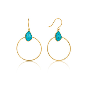 Turquoise Front Hoop Earrings Sterling Silver with 14K Gold Plating