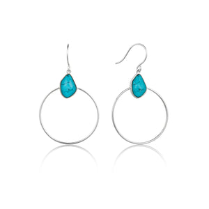 Turquoise Front Hoop Earrings Sterling Silver with Rhodium Plating