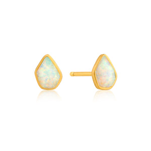 Opal Color Stud Earrings Sterling Silver with 14K Gold Plating