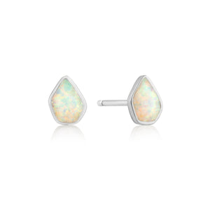 Opal Color Stud Earrings Sterling Silver with Rhodium Plating