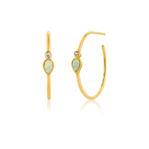 Opal Color Raindrop Hoop Earrings Sterling Silver with 14K Gold Plating
