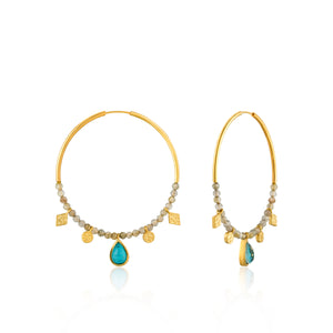 Turquoise Labradorite Hoop Earrings Sterling Silver with 14K Gold Plating