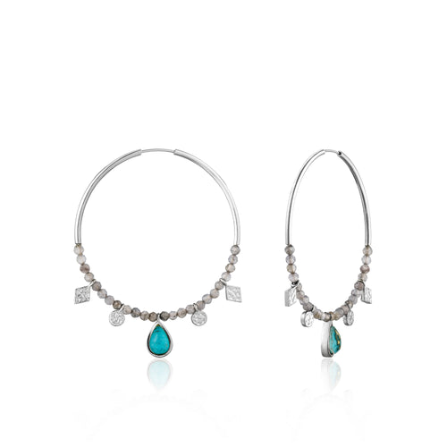 Turquoise Labradorite Hoop Earrings Sterling Silver with Rhodium Plating