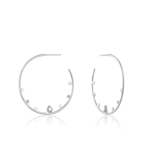 Dream Open Hoop Sterling Silver Earrings with Rhodium Plating