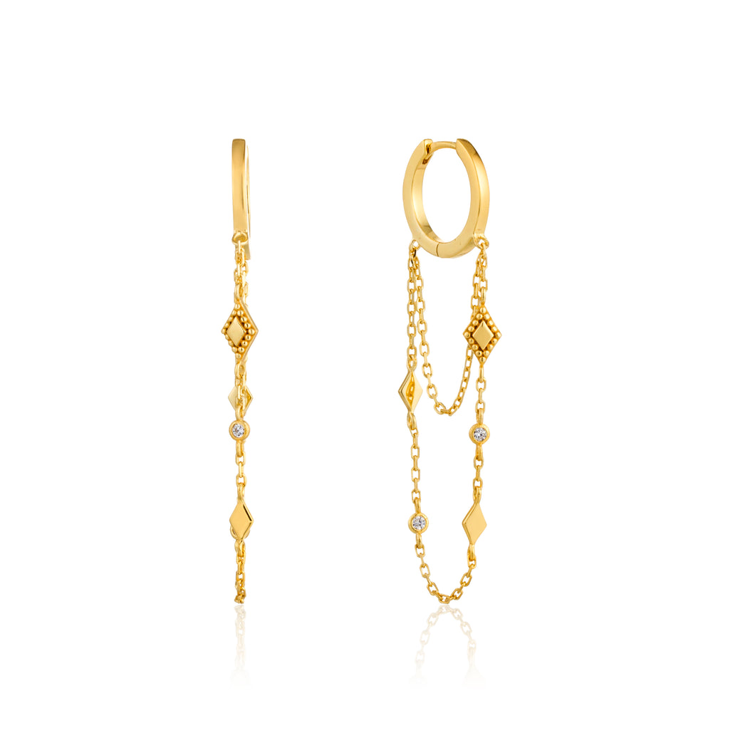 Bohemia Chain Drop Mini Hoops Sterling Silver with 14K Gold Plating