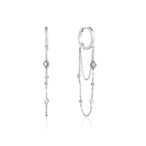 Bohemia Chain Drop Mini Hoops Sterling Silver with Rhodium Plating