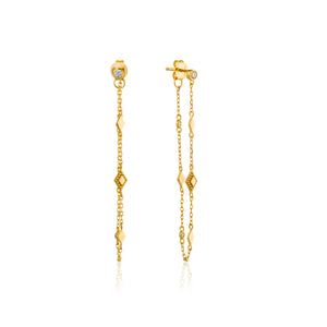 Bohemia Chain Stud Sterling Silver Earrings with 14K Gold Plating