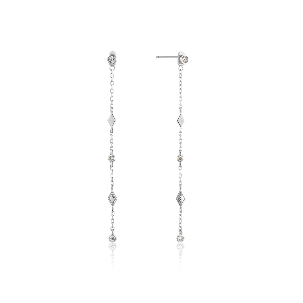 Bohemia Shimmer Drop Sterling Silver Earrings with Rhodium Plating