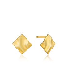 Gold Plated Sterling Silver Crush Mini Square Stud Earrings