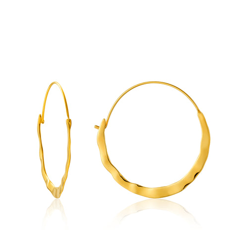 Gold Plated Sterling Silver Crush Hoop Earrings