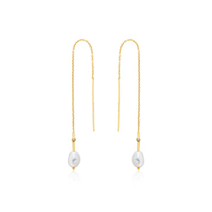 Gold Plated Sterling Silver  Pearl Threader Earrings