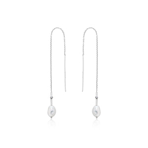 Rhodium Plated Sterling Silver Pearl Threader Earrings