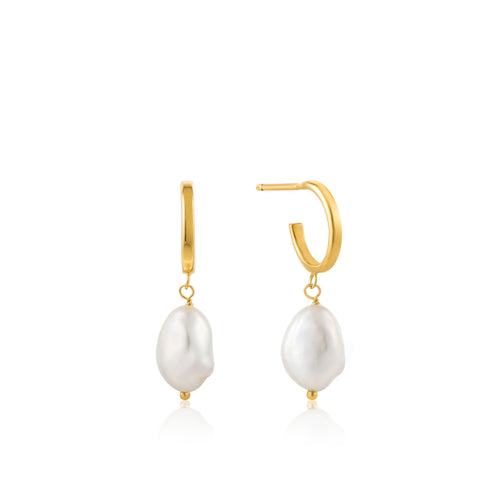 Gold Plated Sterling Silver Pearl Mini Hoop Earrings