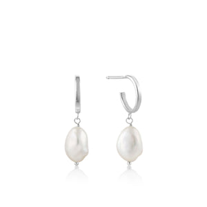 Rhodium Plated Sterling Silver Pearl Mini Hoop Earrings