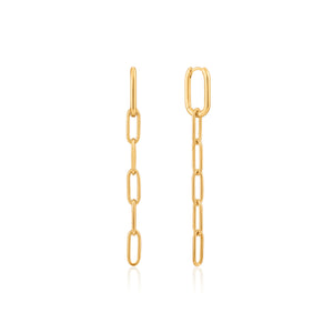 Gold Plated Sterling Silver Cable Link Drop Earrings